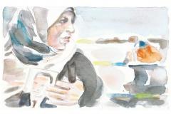 anhaengerin-von-mubarrak, Pressebilder als Aquarelle